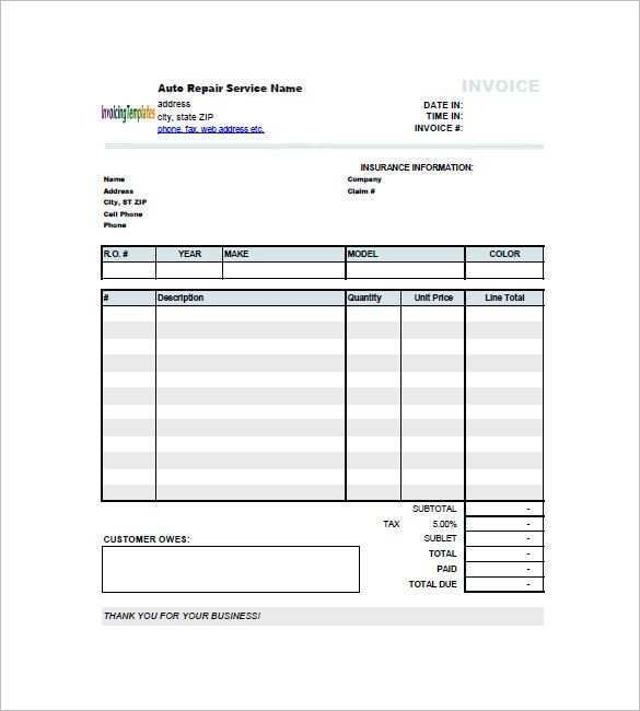 51 Blank Collision Repair Invoice Template Templates for Collision Repair Invoice Template