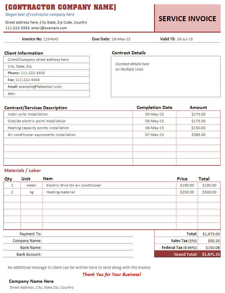 51 Format Contractor Weekly Invoice Template Maker For Contractor Weekly Invoice Template Cards Design Templates