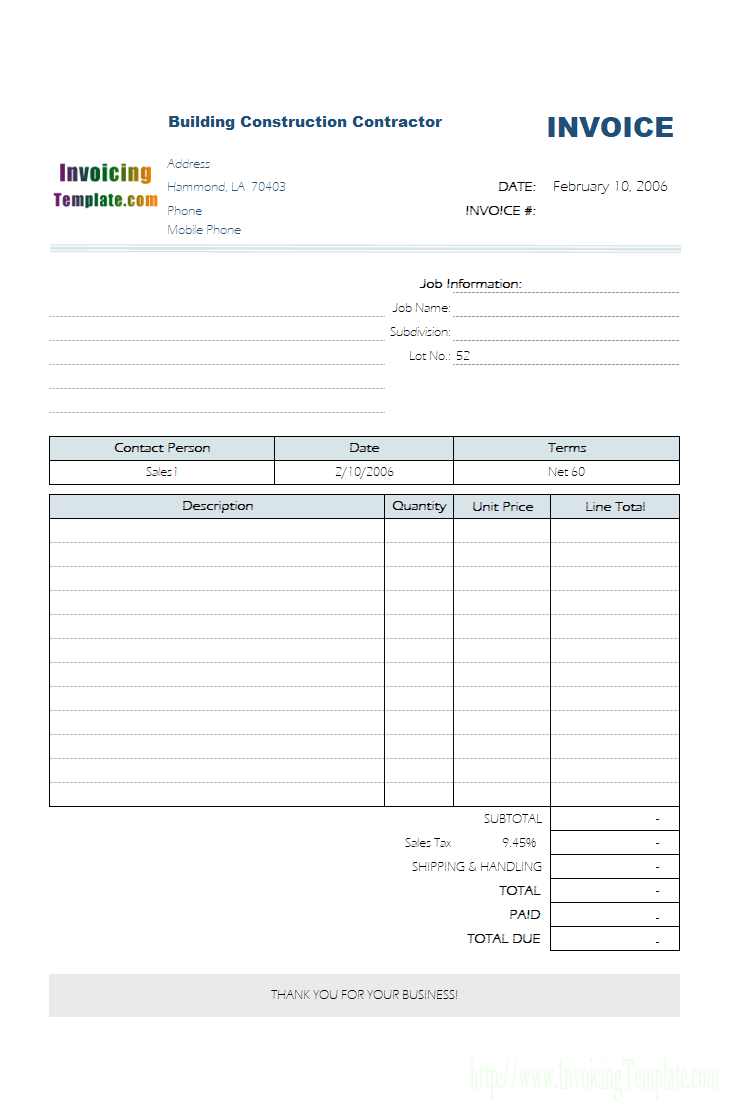 Contractor Invoice Template Excel Cards Design Templates