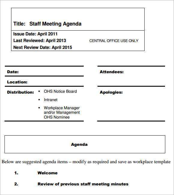 Office Meeting Agenda Template from legaldbol.com