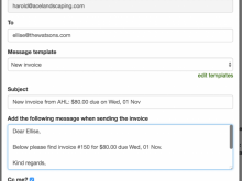 Invoice Email Message Template