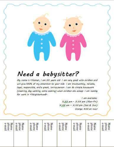 52 Blank Babysitter Flyer Template in Photoshop with Babysitter Flyer Template