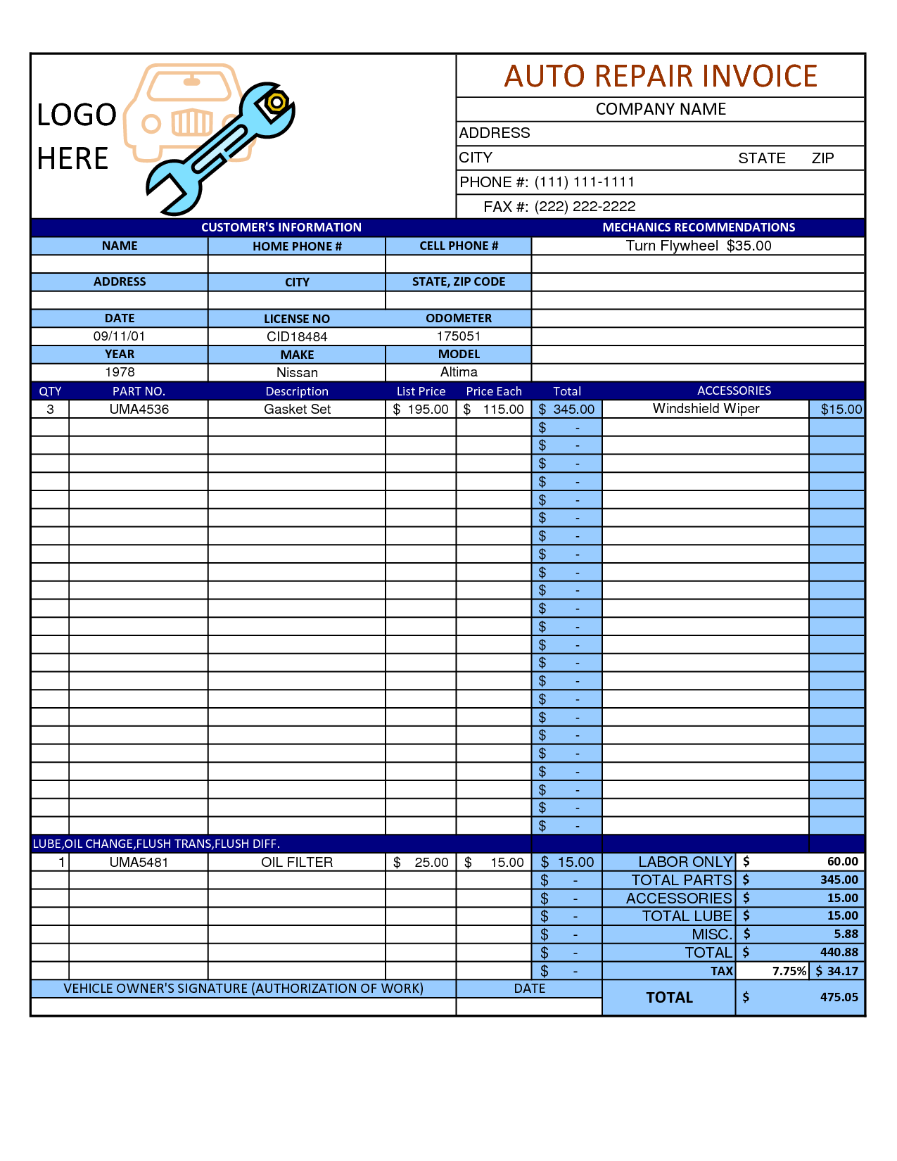 52 Blank Garage Invoice Template Pdf for Ms Word with Garage Invoice Template Pdf