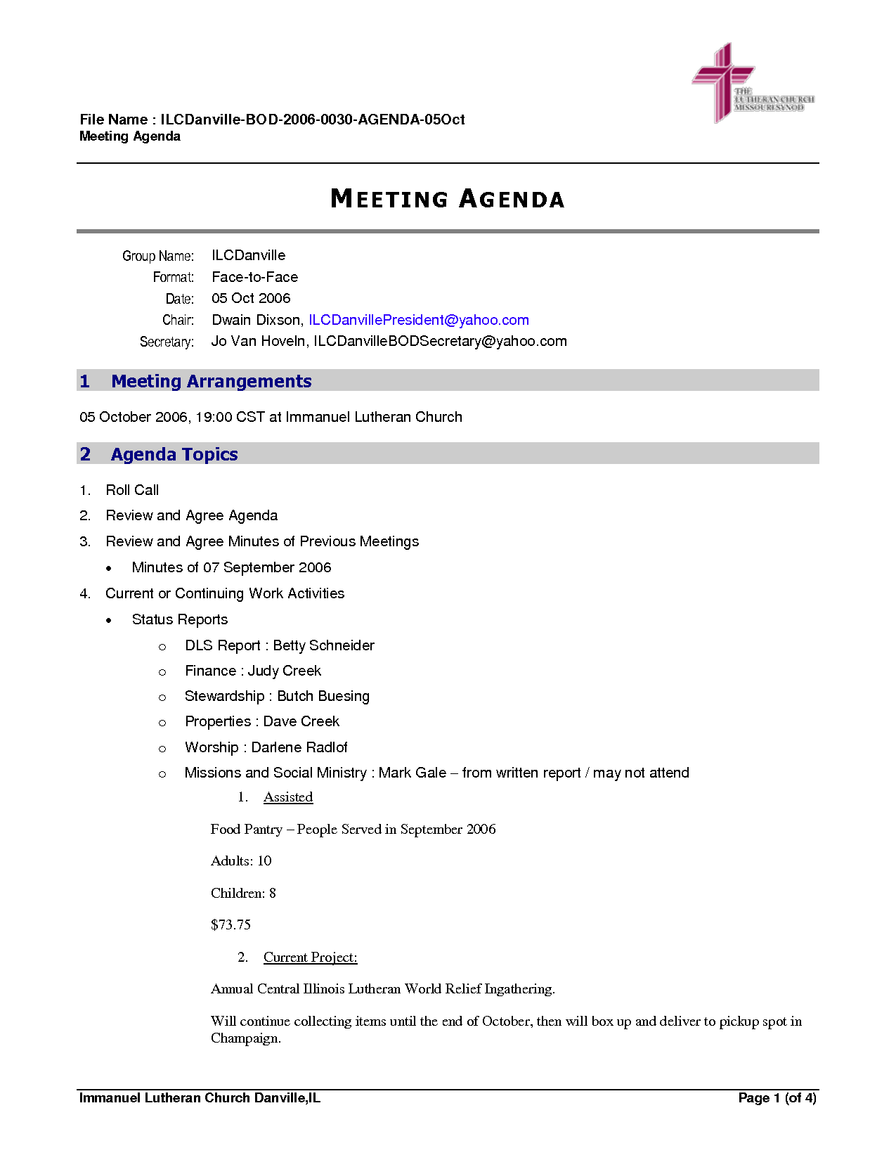 52 Free Church Business Meeting Agenda Template With Stunning Design for Church Business Meeting Agenda Template