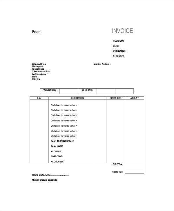 52 Printable Blank Self Employed Invoice Template PSD File for Blank Self Employed Invoice Template