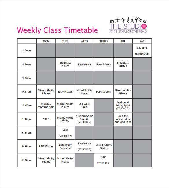 52 The Best Class Schedule Template Design Now with Class Schedule Template Design