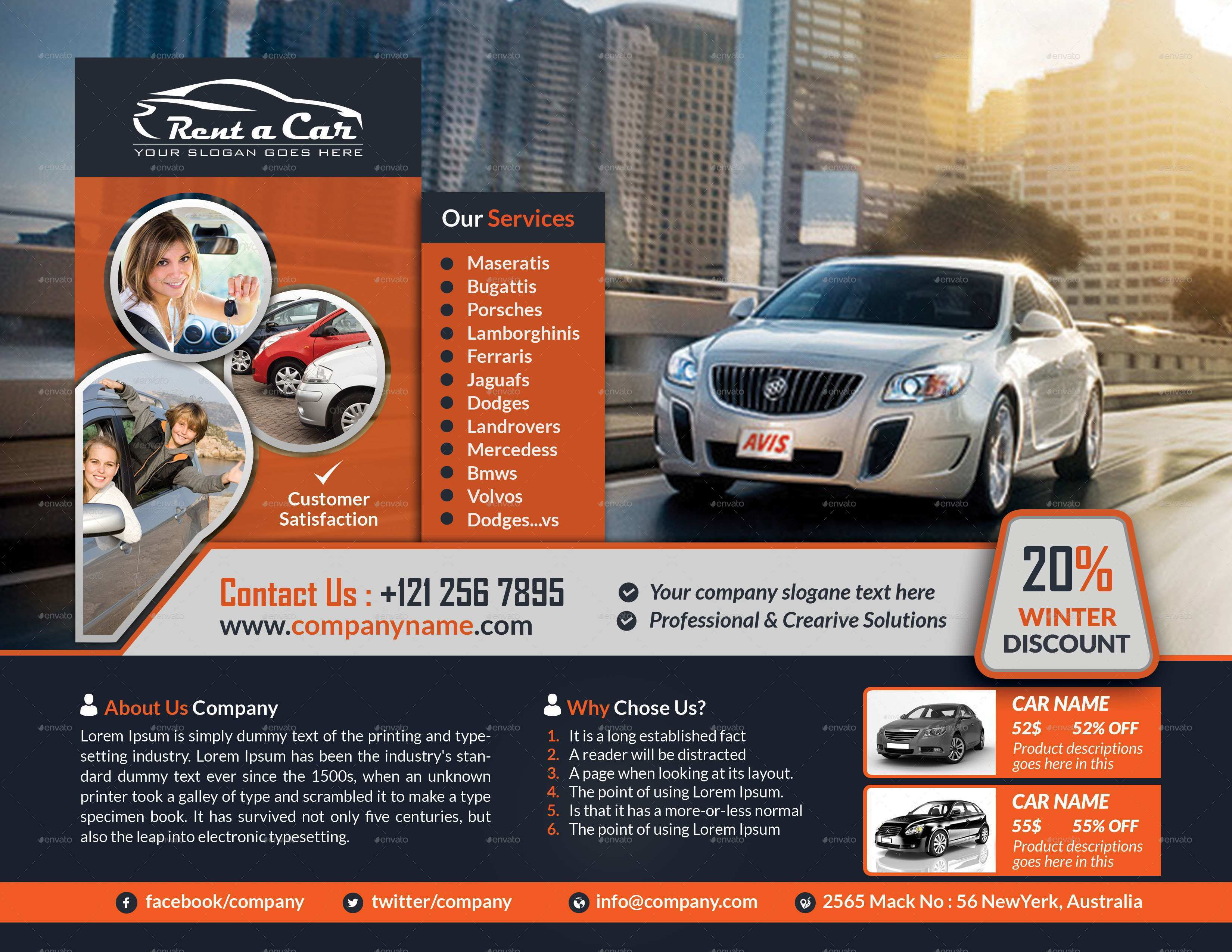 52 Visiting Car Flyer Template in Photoshop for Car Flyer Template