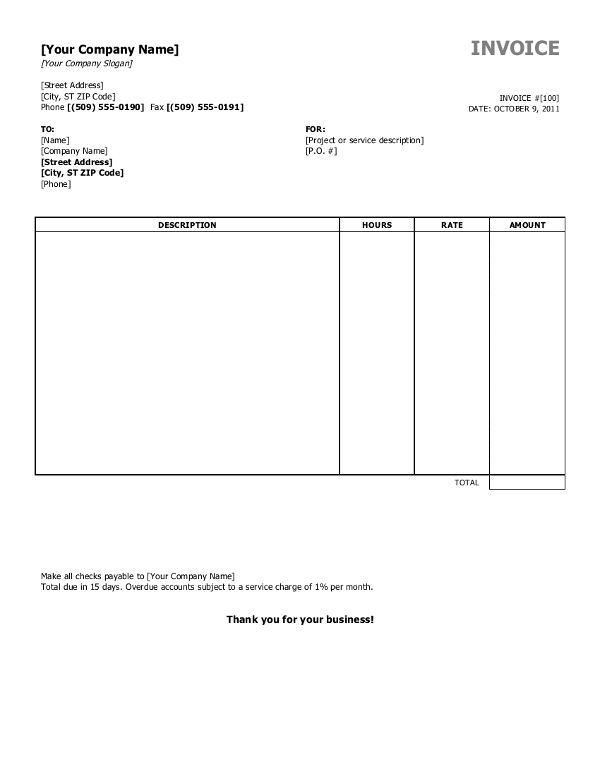 53 Visiting Basic Blank Invoice Template Photo for Basic Blank Invoice Template