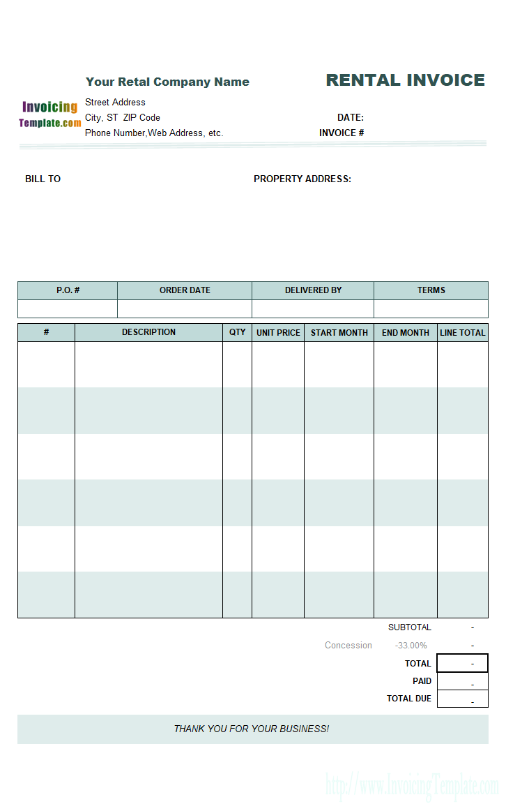 55 Free Blank Rent Invoice Template With Stunning Design by Blank Rent Invoice Template