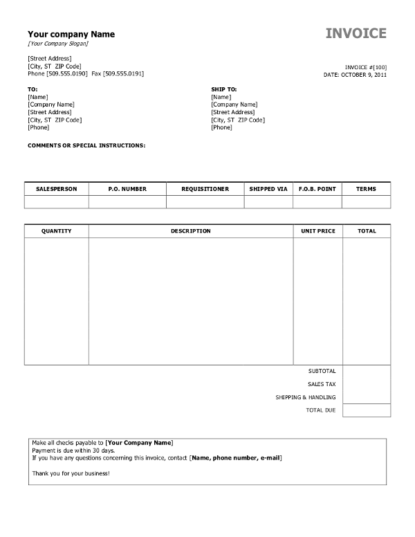 55 Online Blank Invoice Template For Microsoft Excel Download by Blank Invoice Template For Microsoft Excel