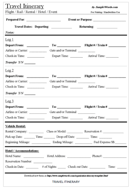 55 Standard Business Travel Itinerary Template Word with Business Travel Itinerary Template Word