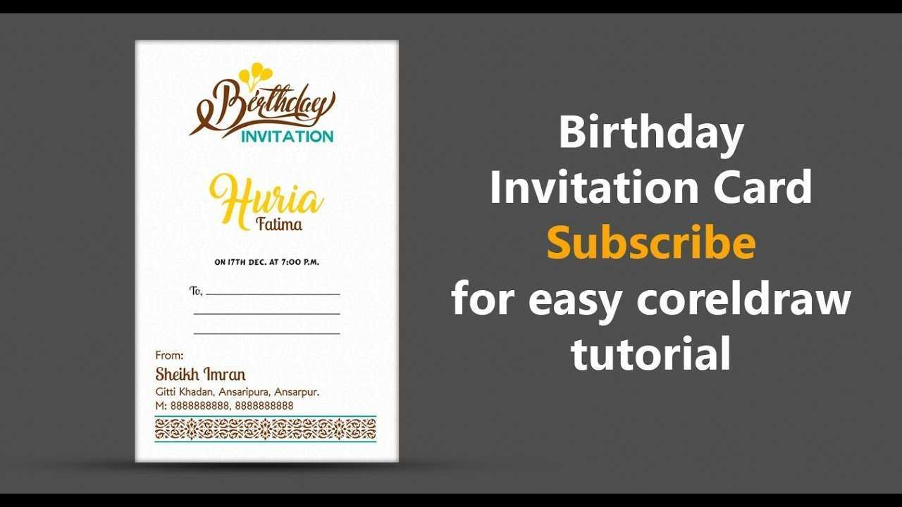 56 Format Birthday Invitation Card Template Vector Coreldraw Maker with Birthday Invitation Card Template Vector Coreldraw
