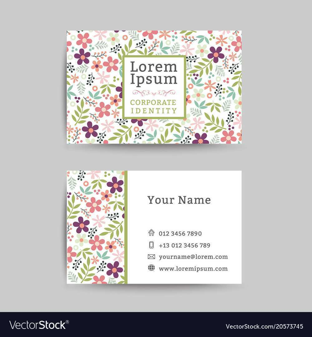56 Standard Floral Name Card Template Free in Photoshop with Floral Name Card Template Free