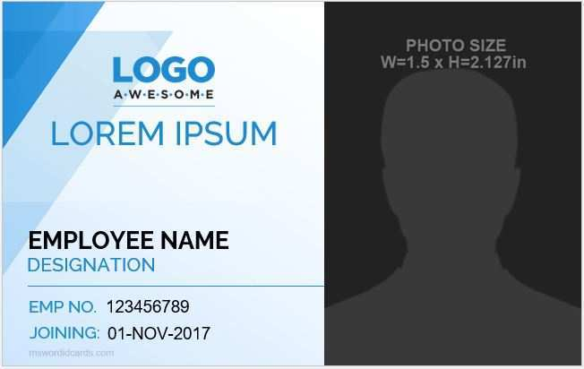 58 Adding Id Card Template In Microsoft Word For Free by Id Card Template In Microsoft Word