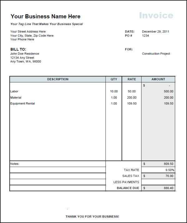 58 Construction Invoice Template Doc Now for Construction Invoice Template Doc
