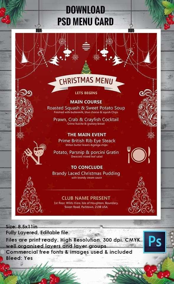 58 Customize Christmas Menu Card Template Free With Stunning Design for Christmas Menu Card Template Free