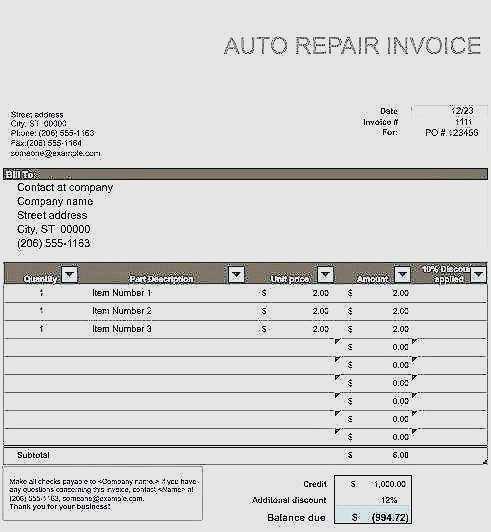 58 Free Printable Body Shop Repair Invoice Template Psd File With Body Shop Repair Invoice Template Cards Design Templates