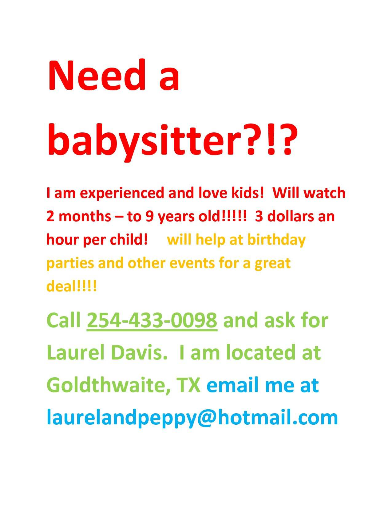 59 Babysitting Flyer Free Template Templates for Babysitting Flyer Free Template