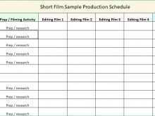 Production Shooting Schedule Template