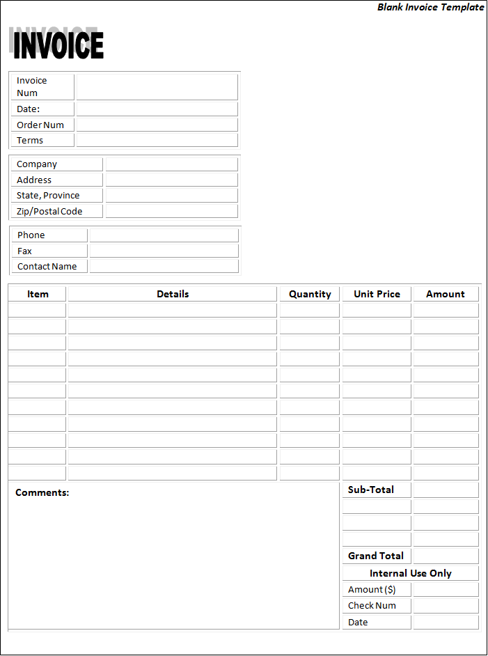 63 Adding Blank Business Invoice Template Photo with Blank Business Invoice Template