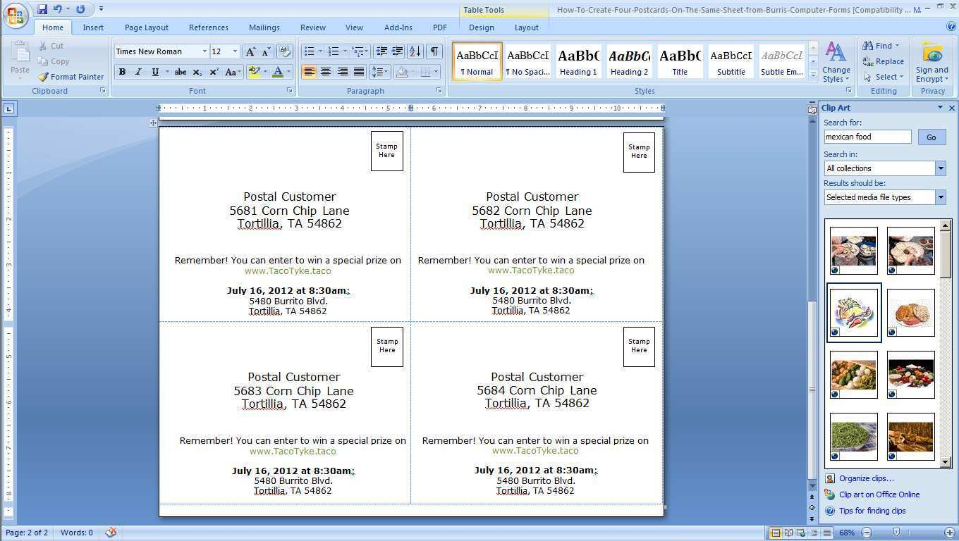 Card Layout For Microsoft Word Cards
