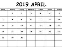 Daily Calendar Template April 2019