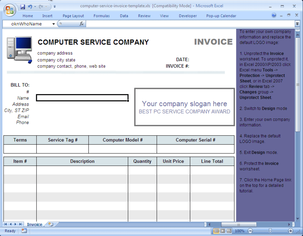 64 Customize Our Free Computer Repair Invoice Template Excel Formating for Computer Repair Invoice Template Excel