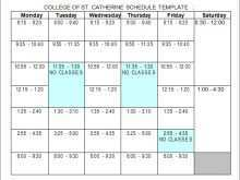64 Free Class Schedule Template College Formating with Class Schedule Template College