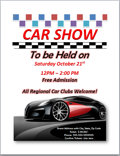 64 Free Printable Car Show Flyer Template Word Formating by Car Show Flyer Template Word