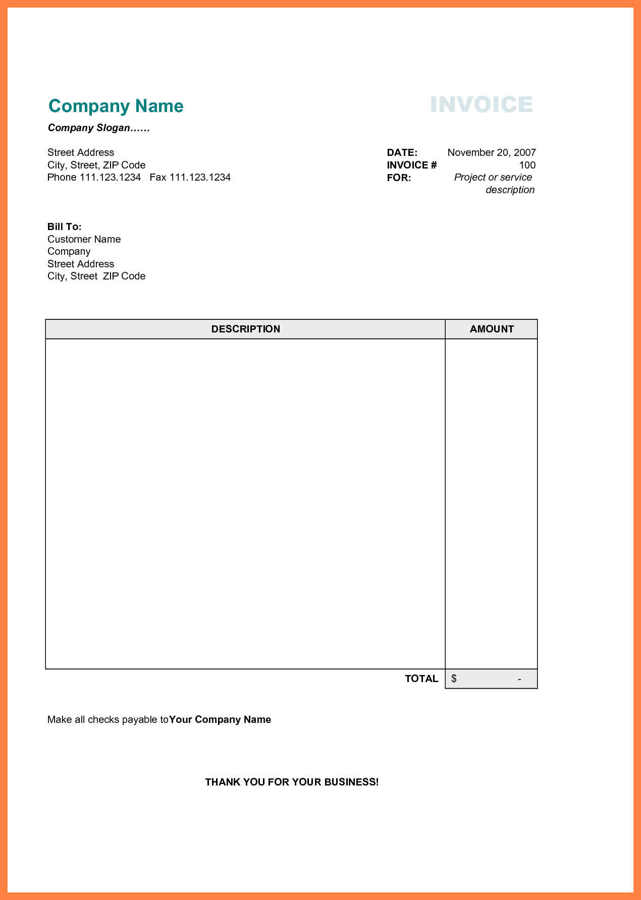 64 The Best Basic Freelance Invoice Template Layouts For Basic Freelance Invoice Template Cards Design Templates