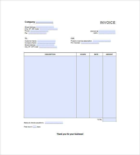 65 Report Blank Hourly Invoice Template Maker for Blank Hourly Invoice Template
