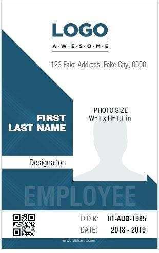 Create Portrait Id Card Template Word