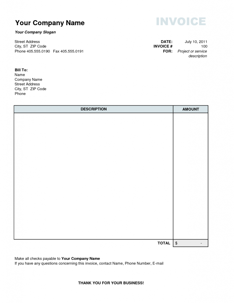 68 Customize Our Free Basic Personal Invoice Template for Ms Word with Basic Personal Invoice Template
