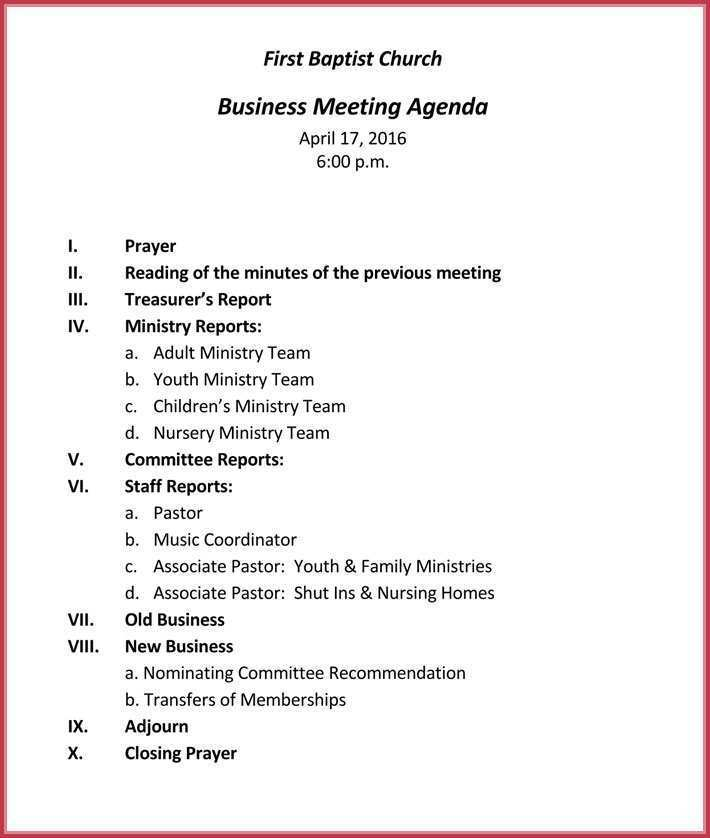 68 Format Church Ministry Meeting Agenda Template in Word by Church Ministry Meeting Agenda Template