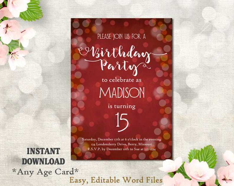 68 Free Printable 15 Birthday Card Template Now with 15 Birthday Card Template