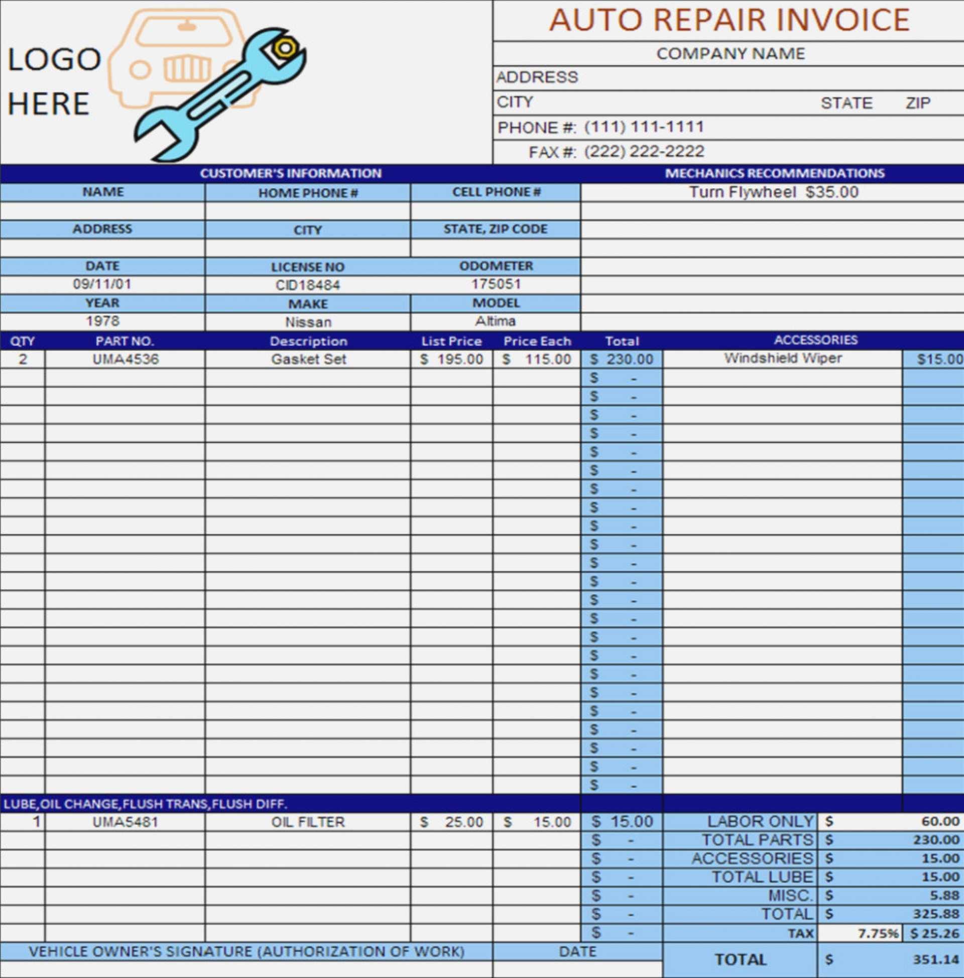 bike repair invoice template
