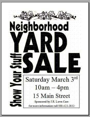 69 Customize Community Yard Sale Flyer Template in Word for Community Yard Sale Flyer Template