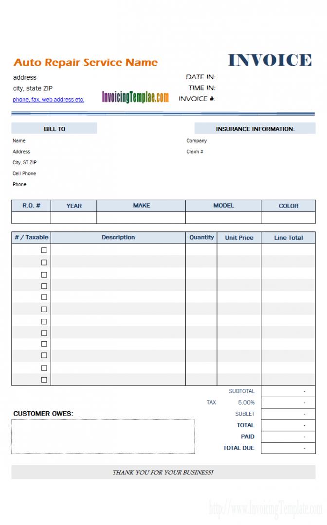 69 Format Car Repair Invoice Template Pdf in Word with Car Repair Invoice Template Pdf