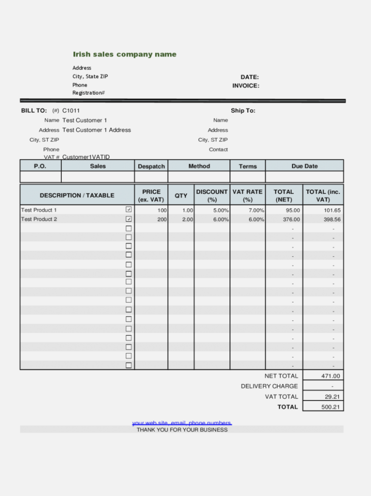 69 Standard Vat Invoice Template Excel Layouts For Vat Invoice Template Excel Cards Design Templates