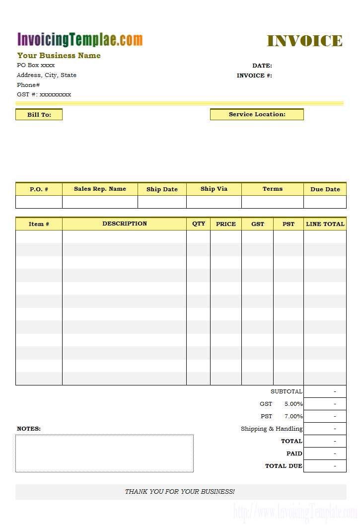 Gst Vat Invoice Template Cards Design Templates