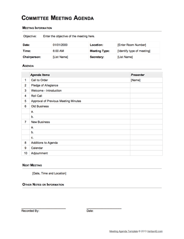73 Adding Committee Meeting Agenda Template in Word with Committee Meeting Agenda Template