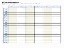 Class Schedule Calendar Template