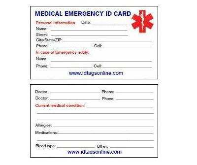 73 Free Emergency Id Card Template Maker with Emergency Id Card Template