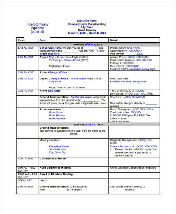 Itinerary Word Template from legaldbol.com