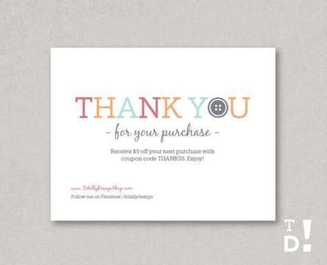 Thank You For Your Order Card Template