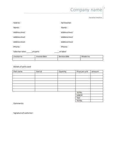 75 Standard Blank Labor Invoice Template Now for Blank Labor Invoice Template