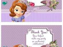 Sofia The First Thank You Card Template