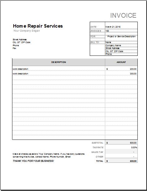 76 Creative House Repair Invoice Template Maker with House Repair Invoice Template
