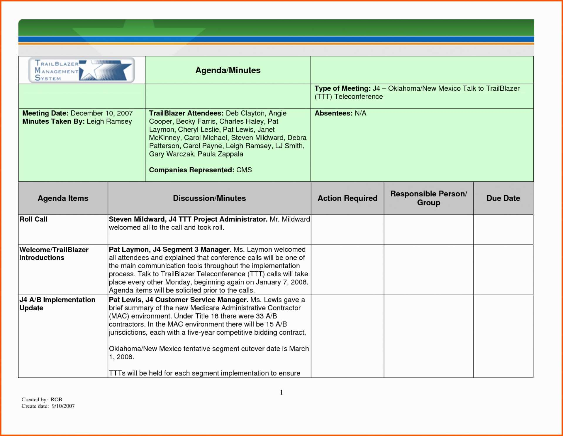 Meeting Minutes Action Items Template from legaldbol.com