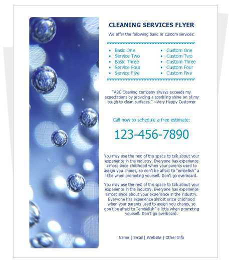 76 The Best Cleaning Services Flyer Templates Download with Cleaning Services Flyer Templates